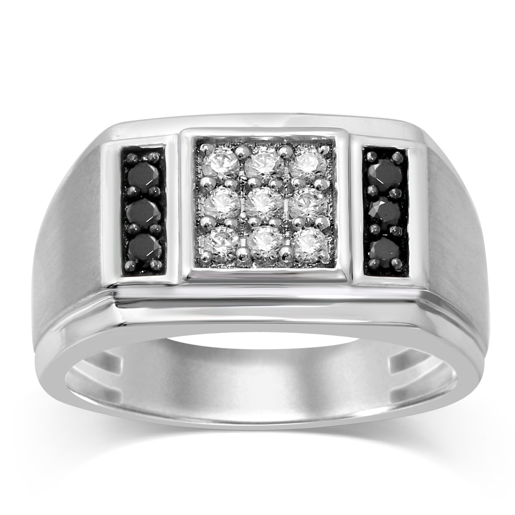 3 Row Mens Ring with 0.45ct of Diamonds in 10ct White Gold Rings Bevilles