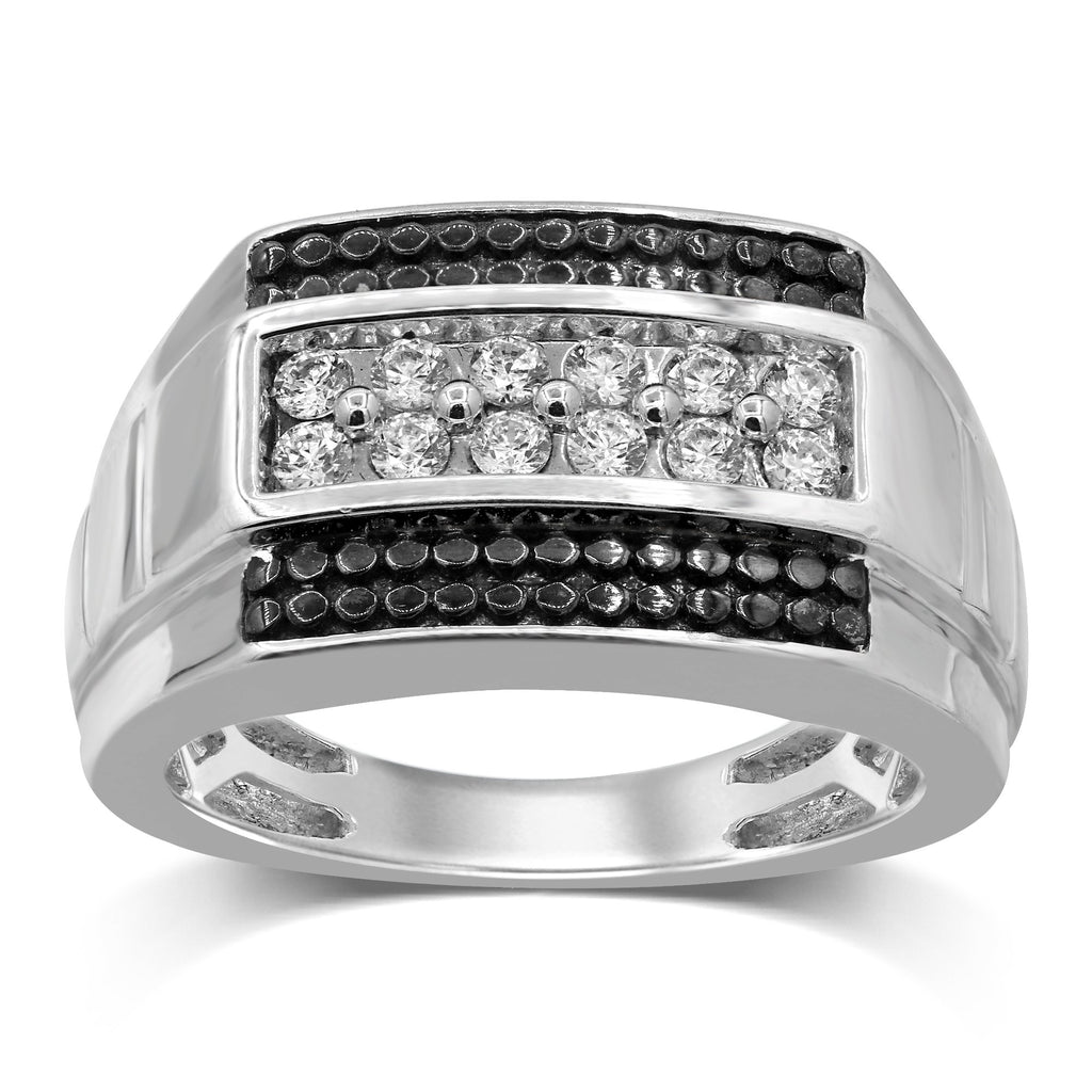 2 Row Brilliant Mens Ring with 0.45ct of Diamonds in 10ct White Gold Rings Bevilles