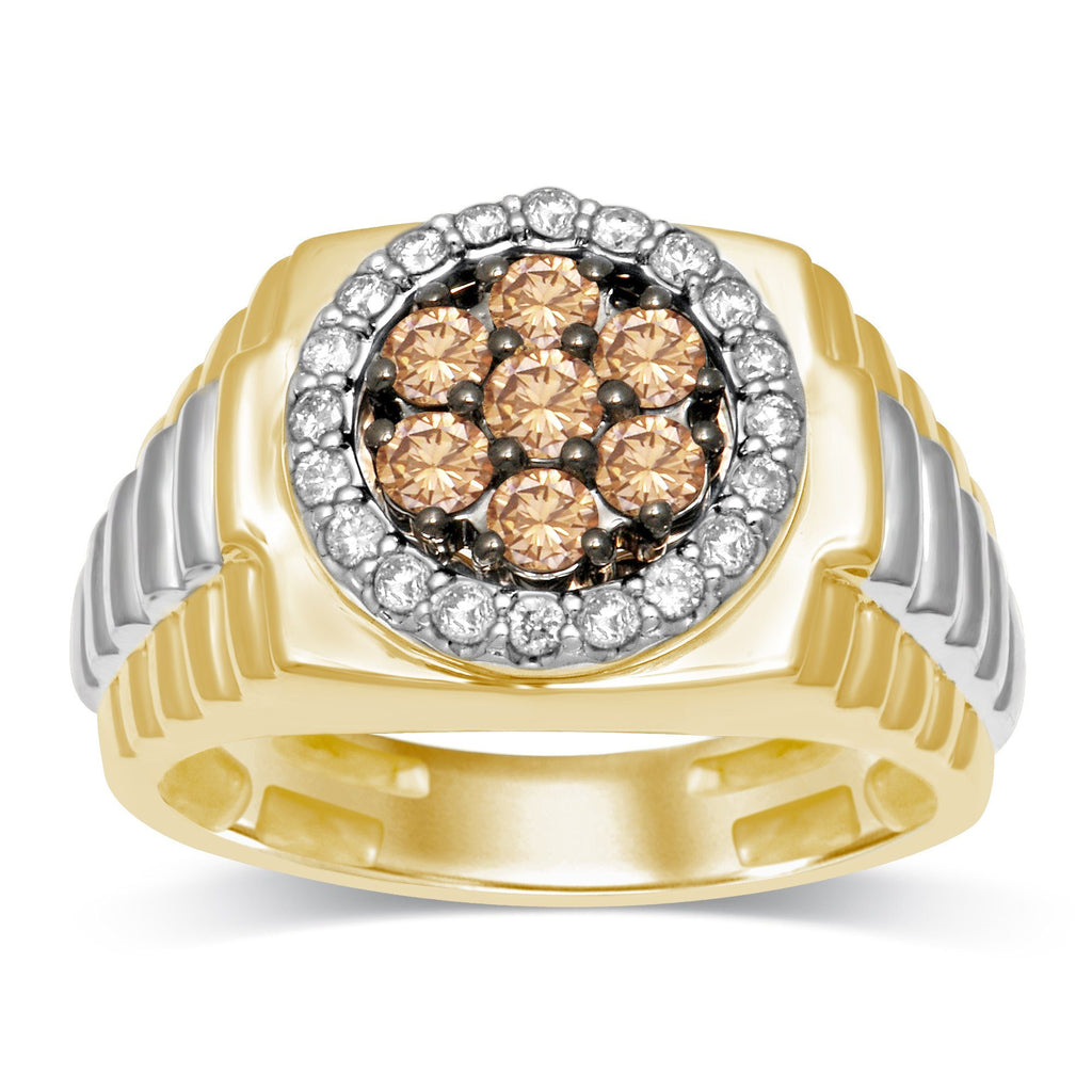 Cognac Flower Mens Ring with 0.95ct of Diamonds in 10ct Yellow Gold Rings Bevilles