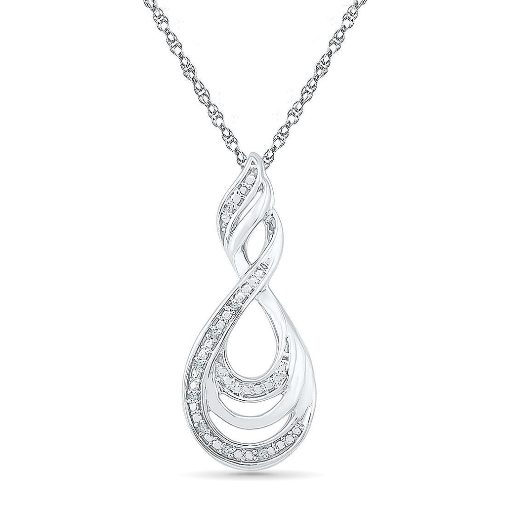 Sterling Silver Diamond Set Swirl Necklace Necklaces Bevilles