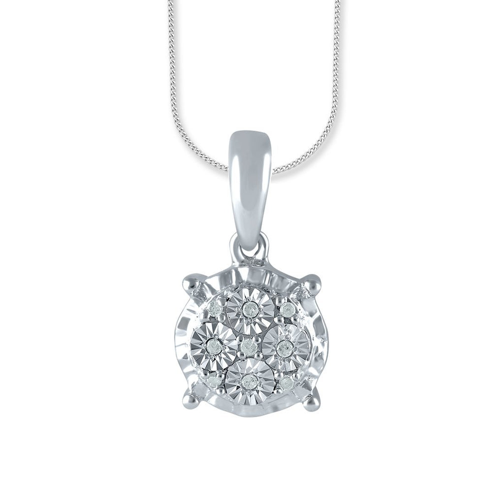 Sterling Silver Diamond Set Brilliant Illusion Miracle Solitaire Look Necklace
