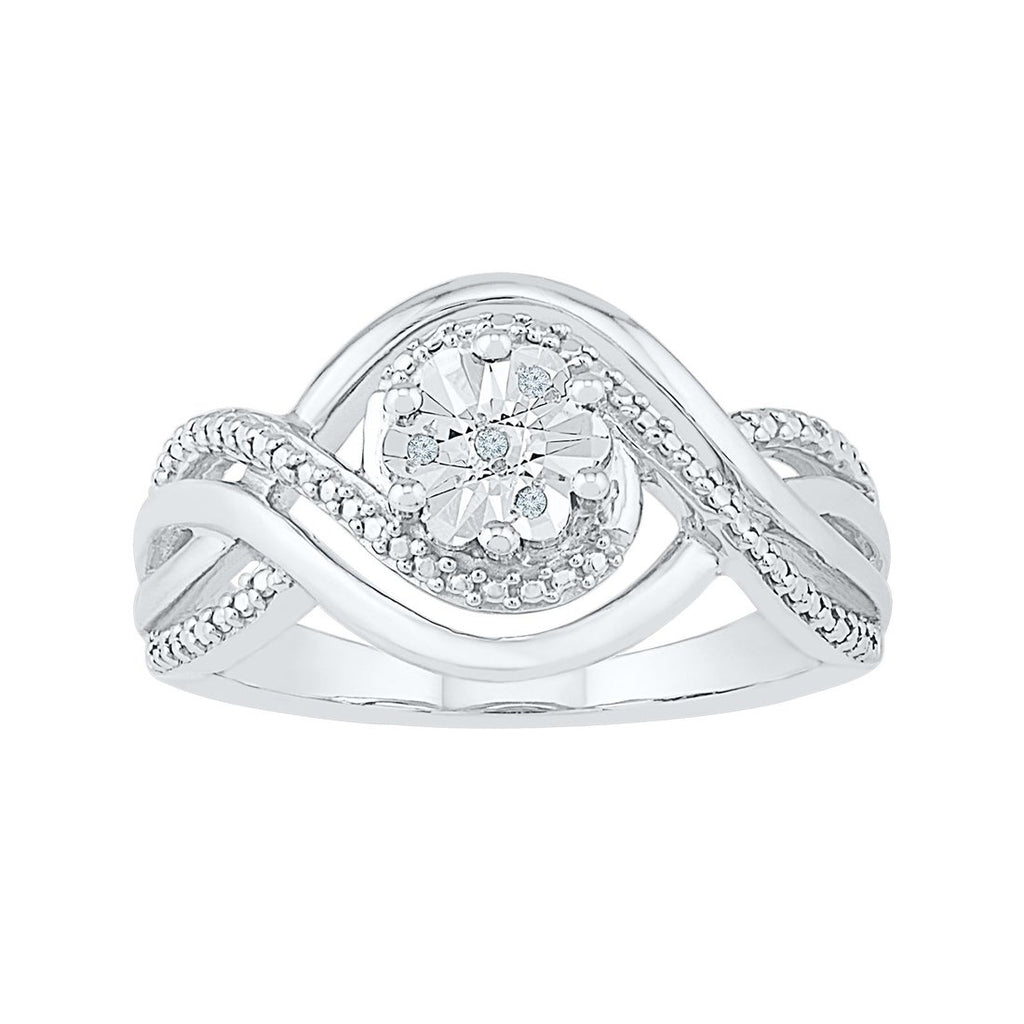 Sterling Silver Diamond Set Wave Ring