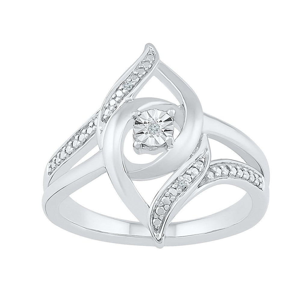 Sterling Silver Diamond Set Double Loop Ring