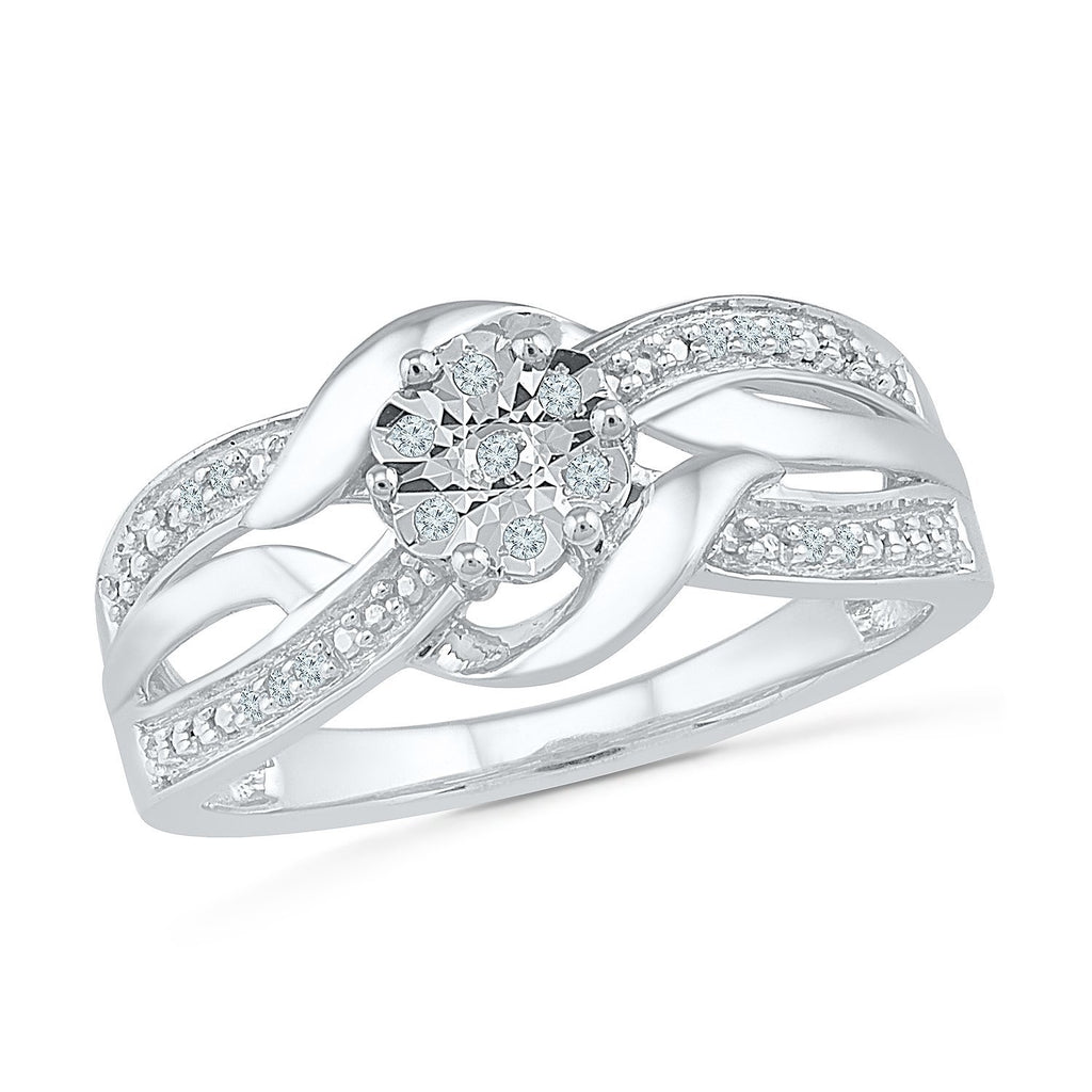 Sterling Silver 0.05ct Diamond Crossover Ring