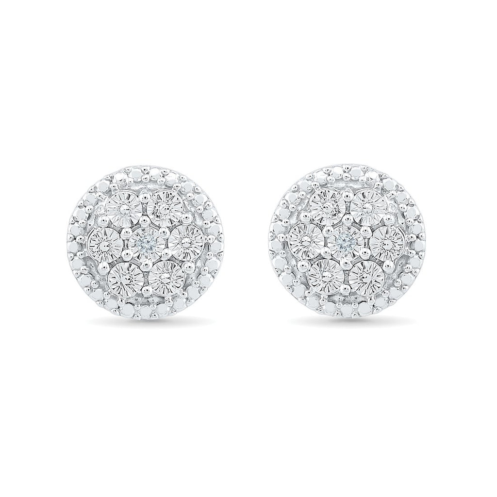 Sterling Silver Diamond Set Stud Earrings