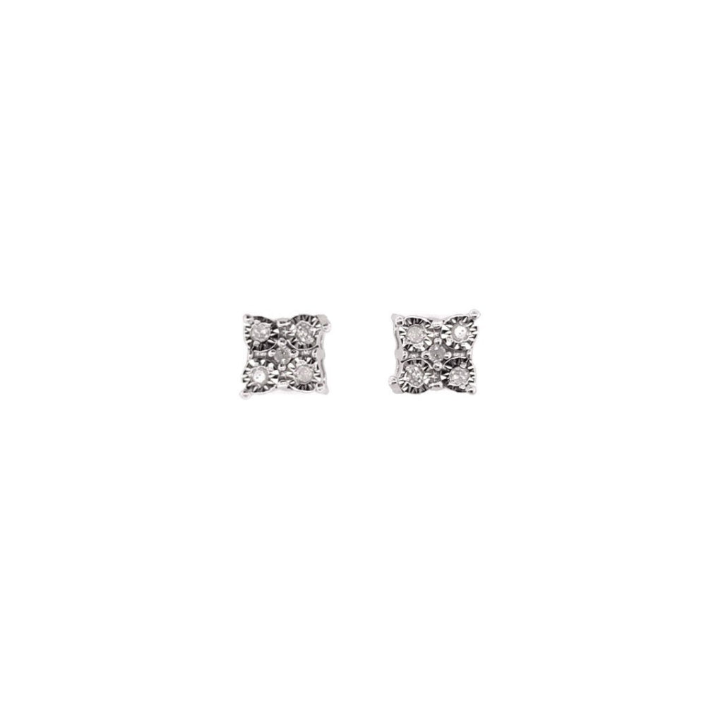 Sterling Silver Diamond Set Miracle Stud Earrings Earrings Bevilles