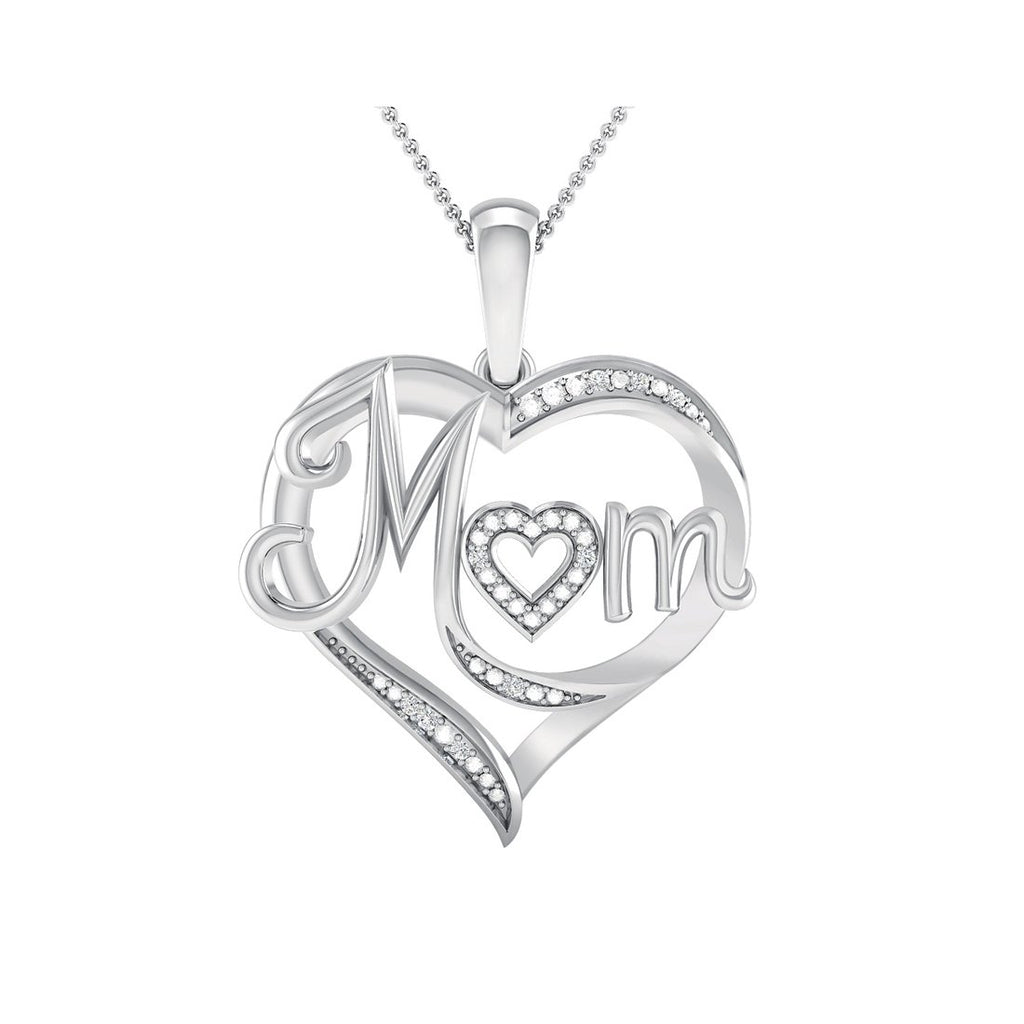 Sterling Silver Diamond Set Mum Heart Necklace