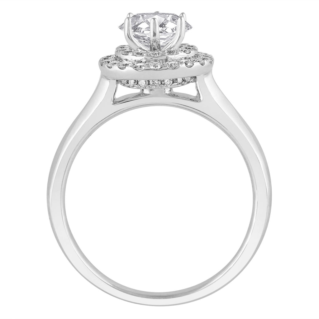 Love by Michelle Beville Double Halo Solitaire Ring with 0.80ct of Diamonds in 18ct White Gold Rings Bevilles