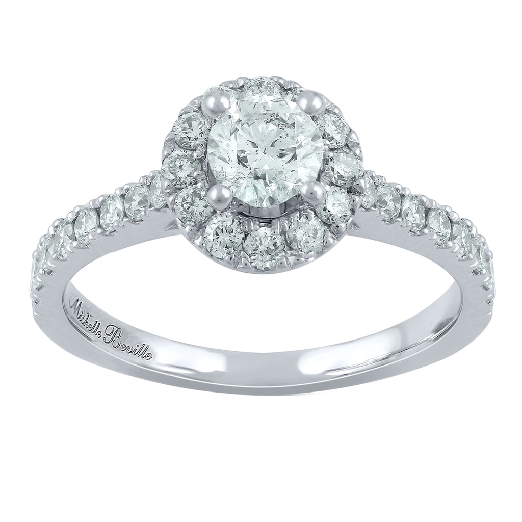 Love by Michelle Beville Halo Solitaire Ring with 0.90ct of Diamonds in 18ct White Gold
