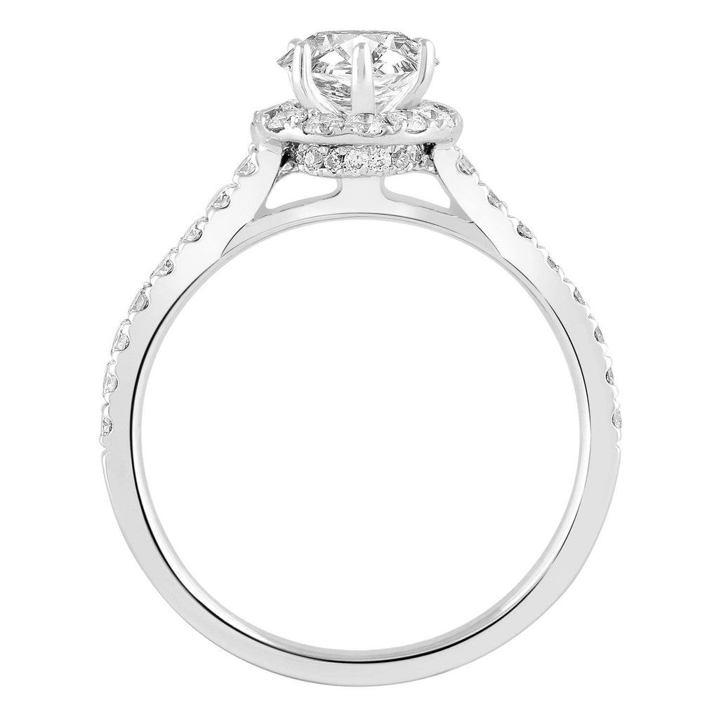 Love by Michelle Beville Halo Solitaire Ring with 0.90ct of Diamonds in 18ct White Gold Rings Bevilles