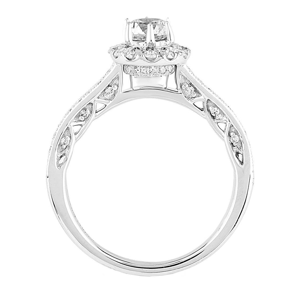 Love by Michelle Beville Halo Solitaire Ring with 0.85ct of Diamonds in 18ct White Gold Rings Bevilles