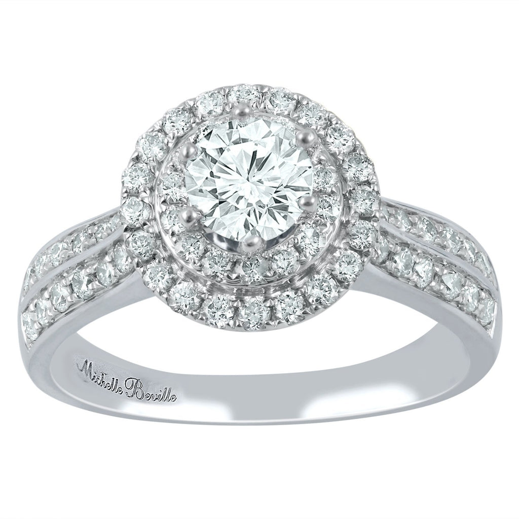 Love by Michelle Beville Double Halo Solitaire Ring with 1.05ct of Diamonds in 18ct White Gold Rings Bevilles