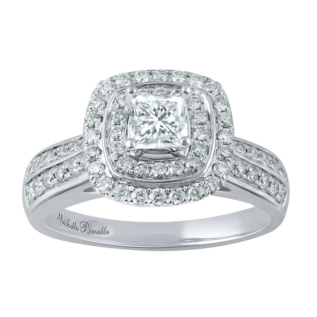Love by Michelle Beville Signature Collection 18ct White Gold 1.00ct Cushion Cut Diamond Ring Rings Bevilles