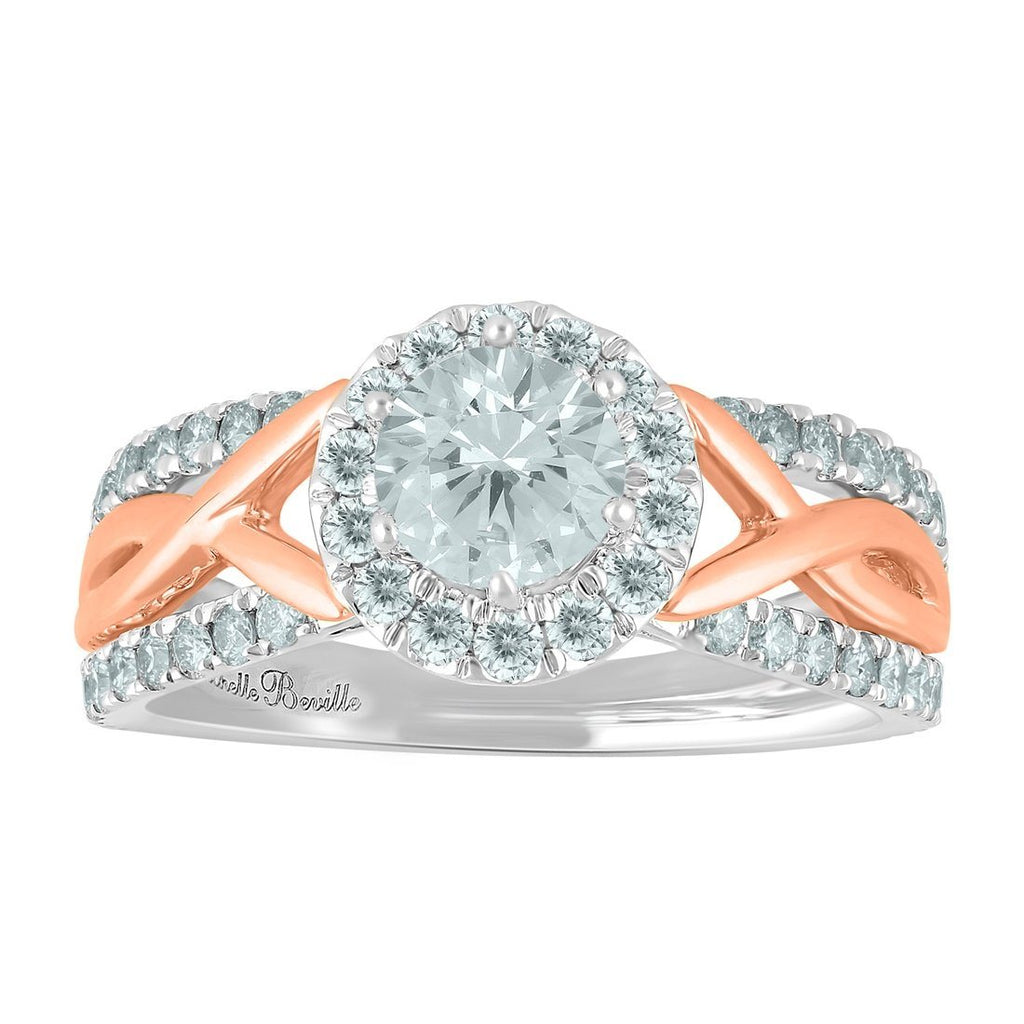 Love by Michelle Beville Halo Solitaire Ring with 1.05ct of Diamonds in 18ct Rose & White Gold Rings Bevilles