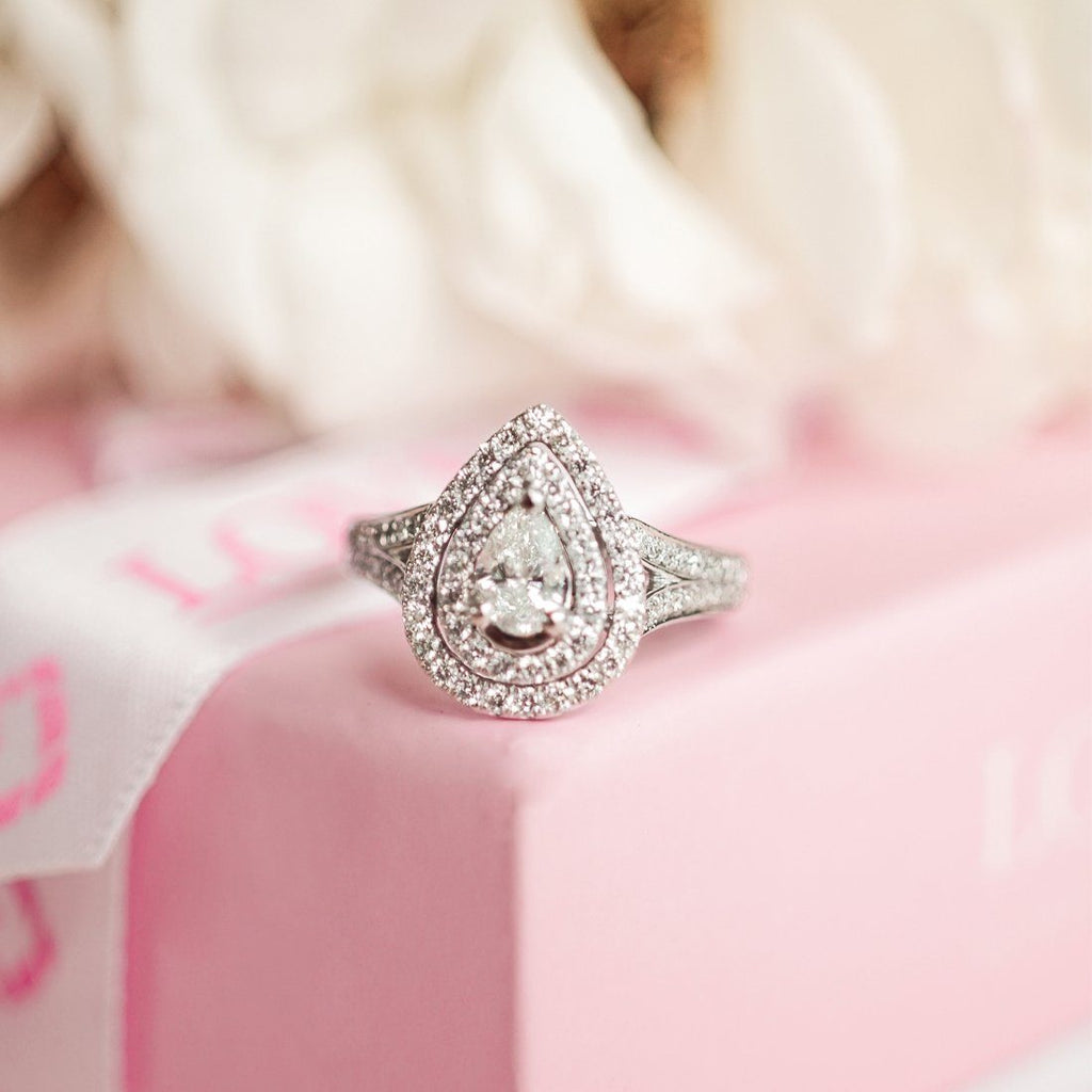 Love by Michelle Beville Double Halo Solitaire Pear Ring with 1.00ct of Diamonds in 18ct White Gold Rings Bevilles