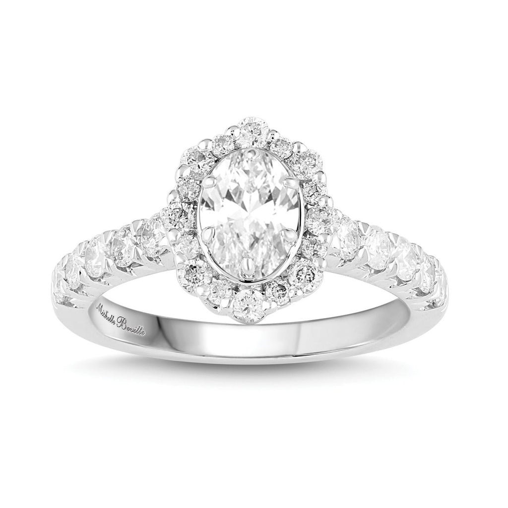 Love by Michelle Beville Oval Halo Solitaire Ring with 1.30ct of Diamonds in 18ct White Gold Rings Bevilles