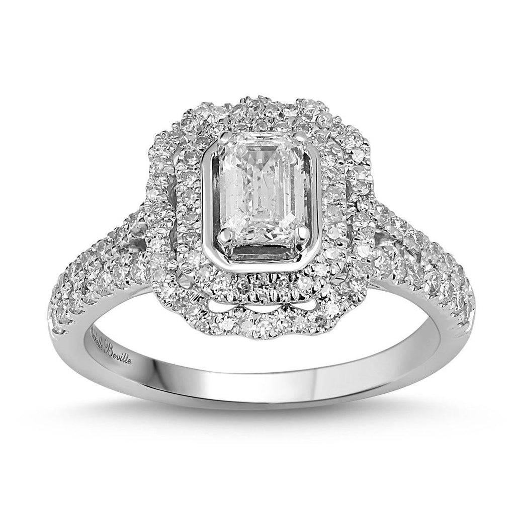 Love by Michelle Beville Emerald Halo Solitaire Ring with 1.10ct of Diamonds in 18ct White Gold Rings Bevilles