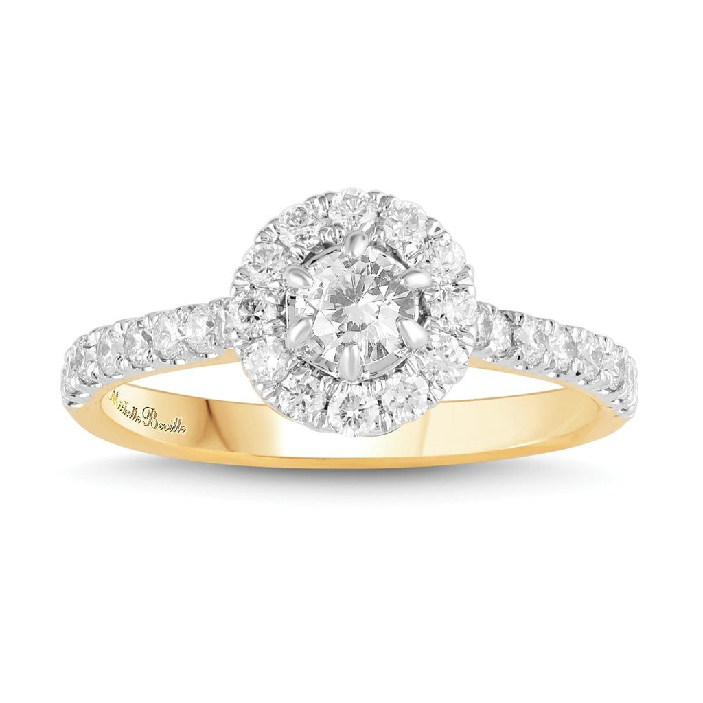 Love by Michelle Beville Halo Solitaire Ring with 0.90ct of Diamonds in 18ct Yellow Gold Rings Bevilles