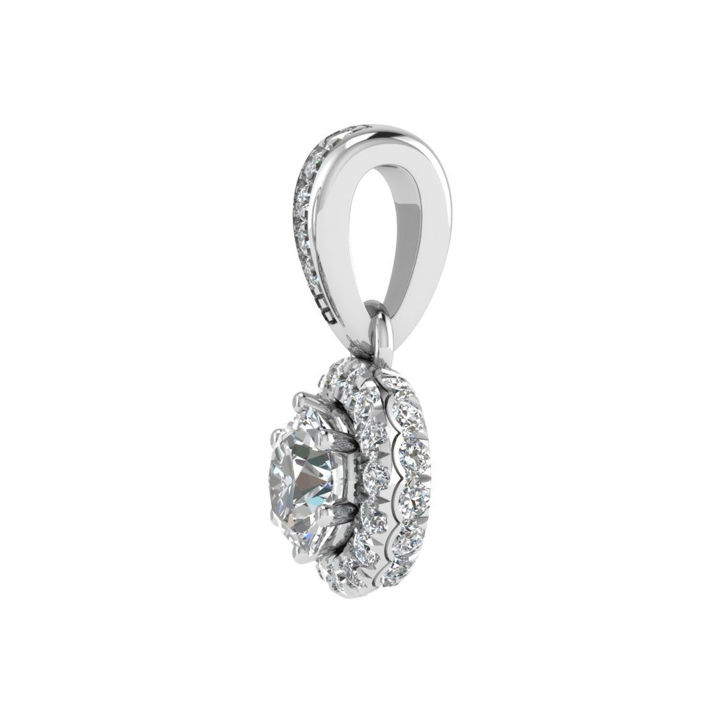 Love by Michelle Beville Halo Solitaire Necklace with 0.40ct of Diamonds in 18ct White Gold Necklaces Bevilles