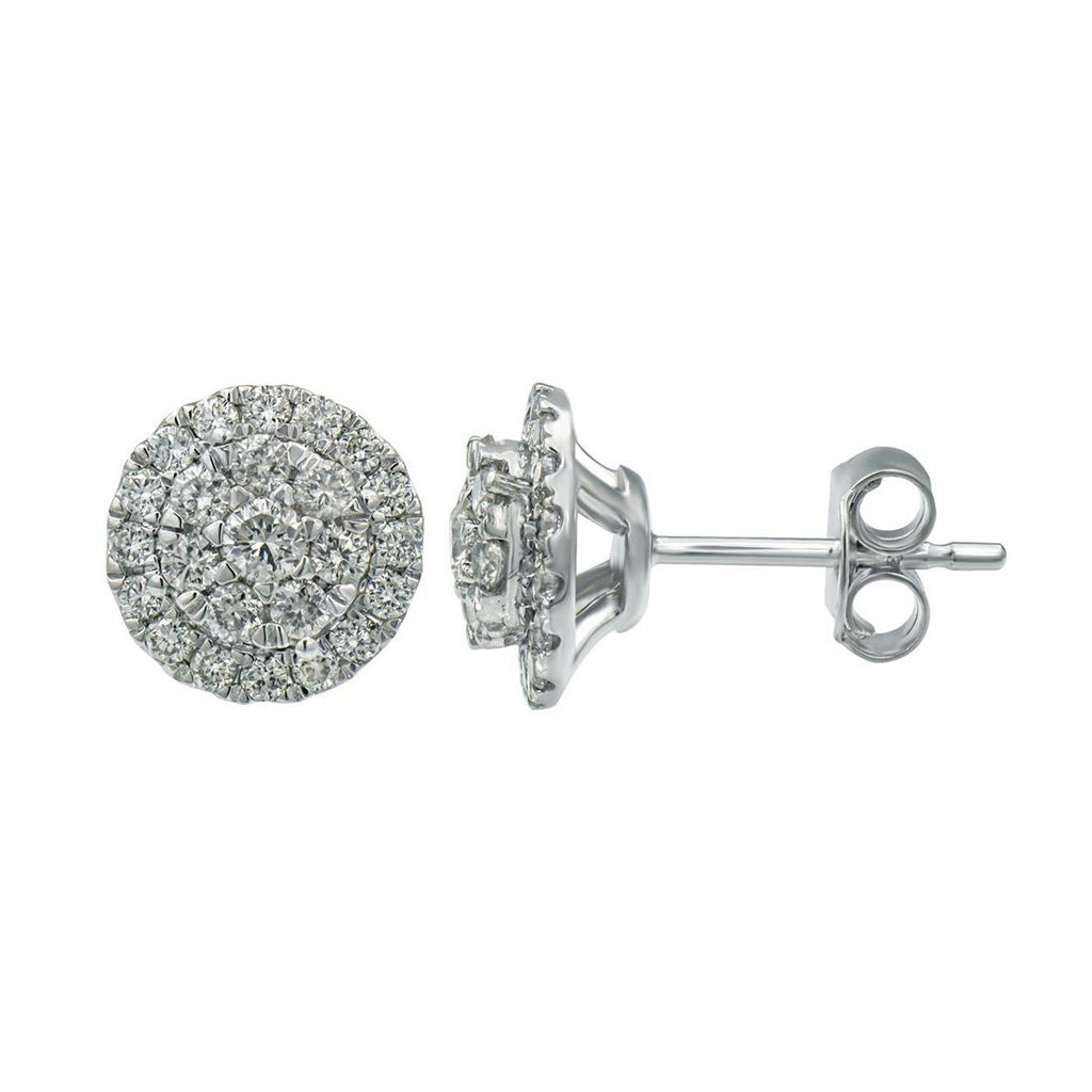 Meera Brilliant Halo Stud Earrings with 3/4ct of Laboratory Grown Diamonds in 9ct White Gold Earrings Bevilles