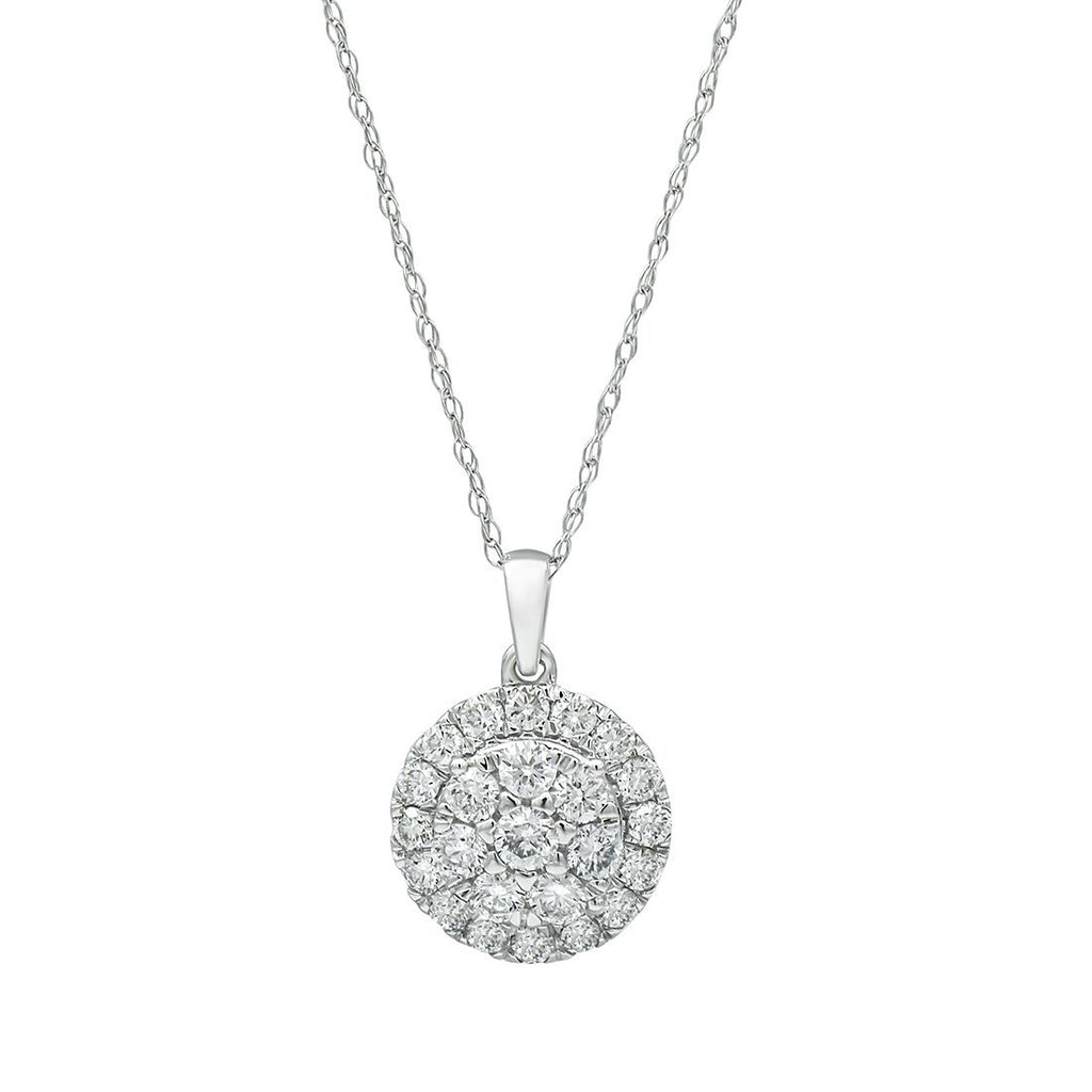 Meera Brilliant Halo Necklace with 3/4ct of Laboratory Grown Diamonds in 9ct White Gold Necklaces Bevilles Jewellers