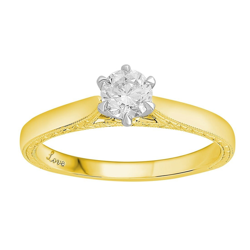 Facets of Love Signature Solitaire Ring with 0.40ct Diamond in 18ct Yellow Gold Rings Bevilles