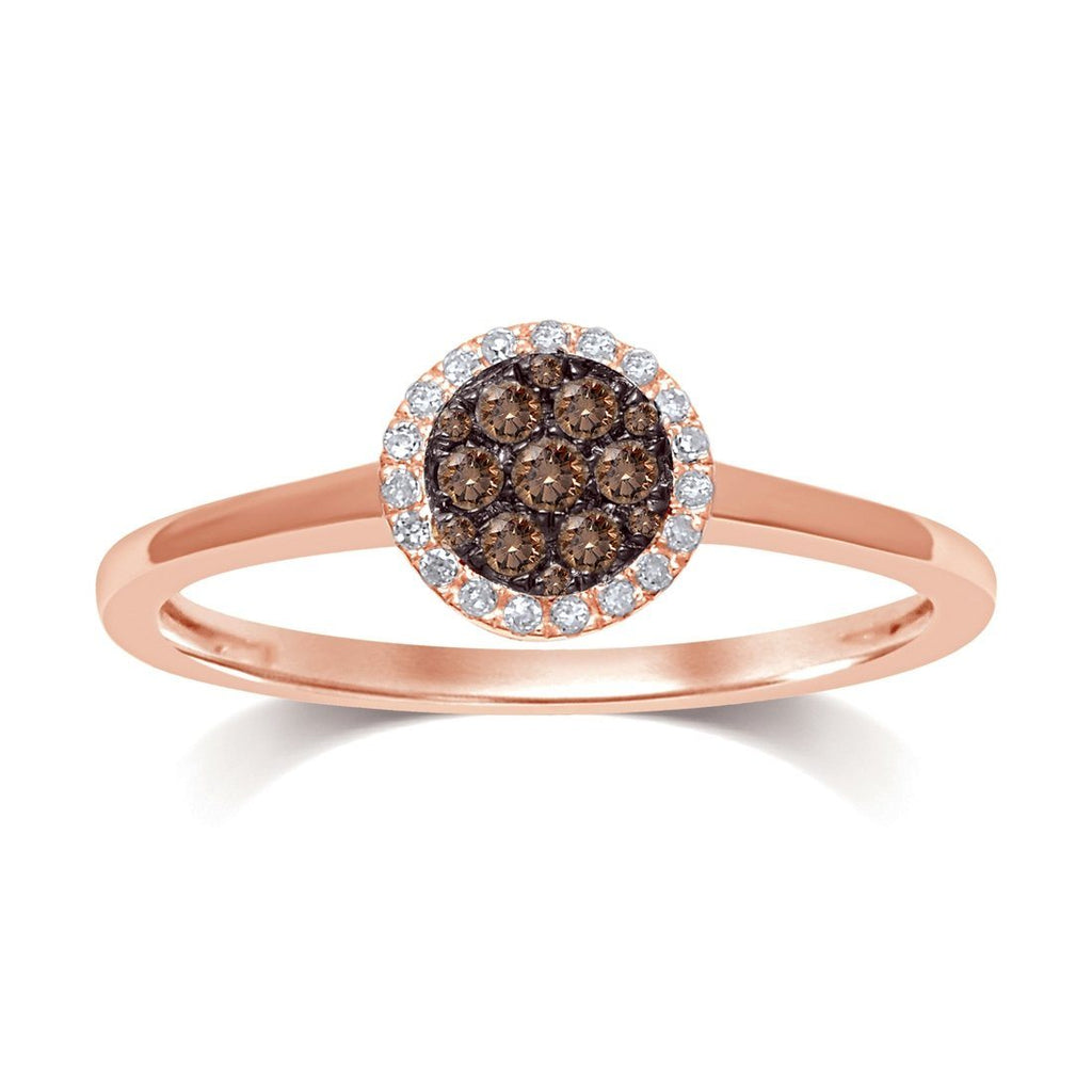 9ct Rose Gold Ring with 0.15ct of Cognac Diamonds Rings Bevilles