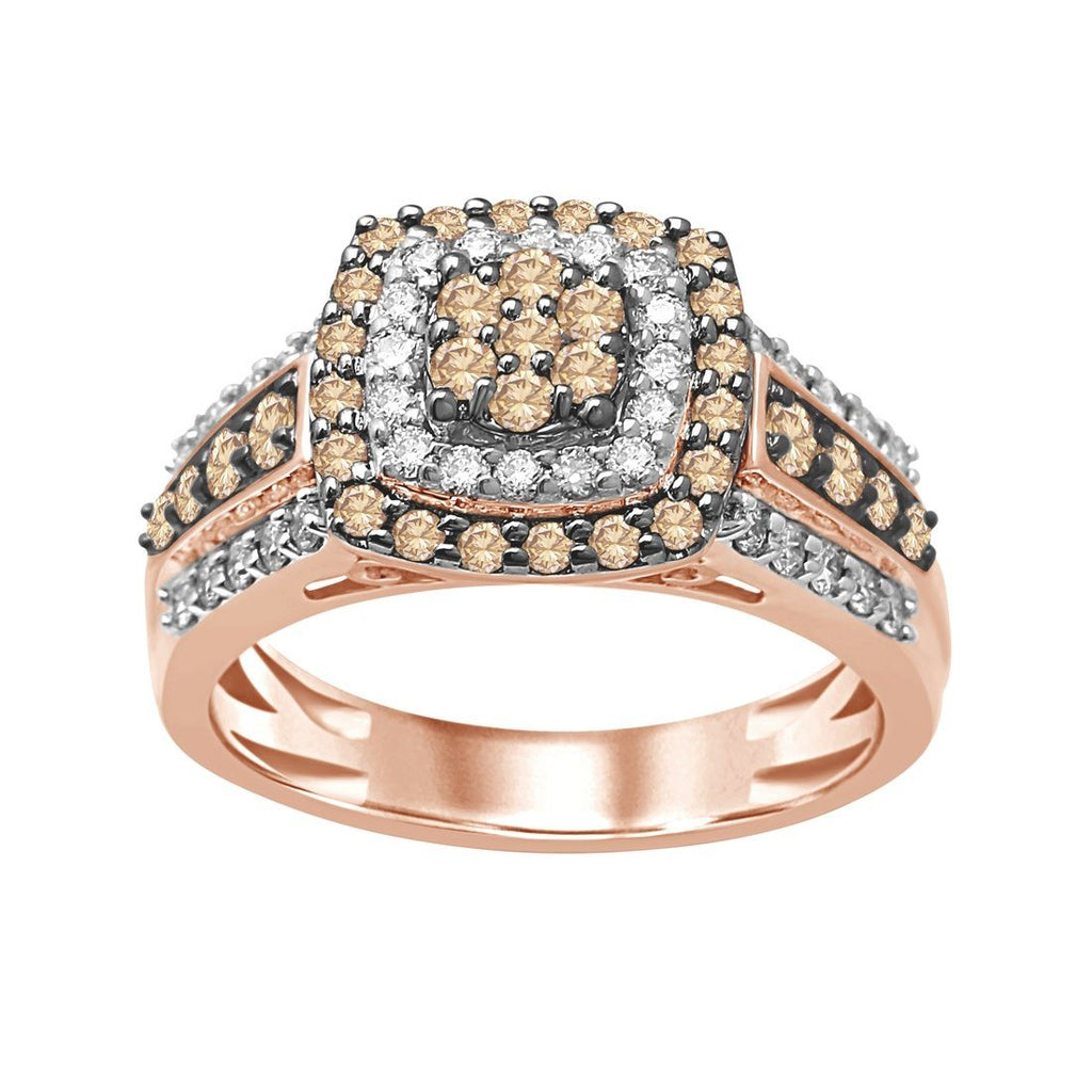 9ct Rose Gold 1.00ct Cognac and White Diamond Ring