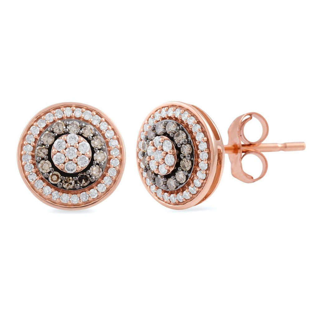 9ct Rose Gold 0.50ct Cognac and White Diamond Stud Earrings