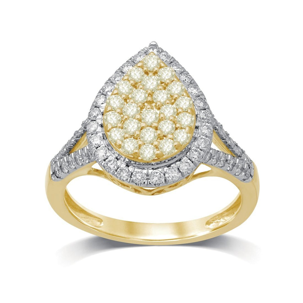 18ct Yellow Gold 1.00ct Yellow Diamond Pear Shaped Ring Rings Bevilles