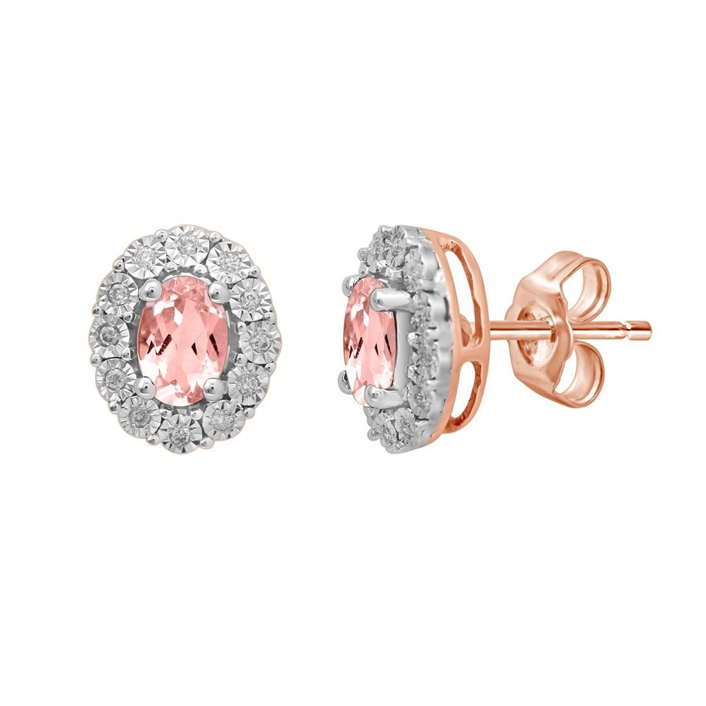 9ct Rose Gold Diamond Set Oval Morganite Stud Earrings Earrings Bevilles