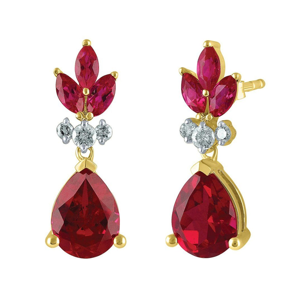 9ct Yellow Gold 0.13ct Diamond & Created Ruby Drop Earrings Earrings Bevilles
