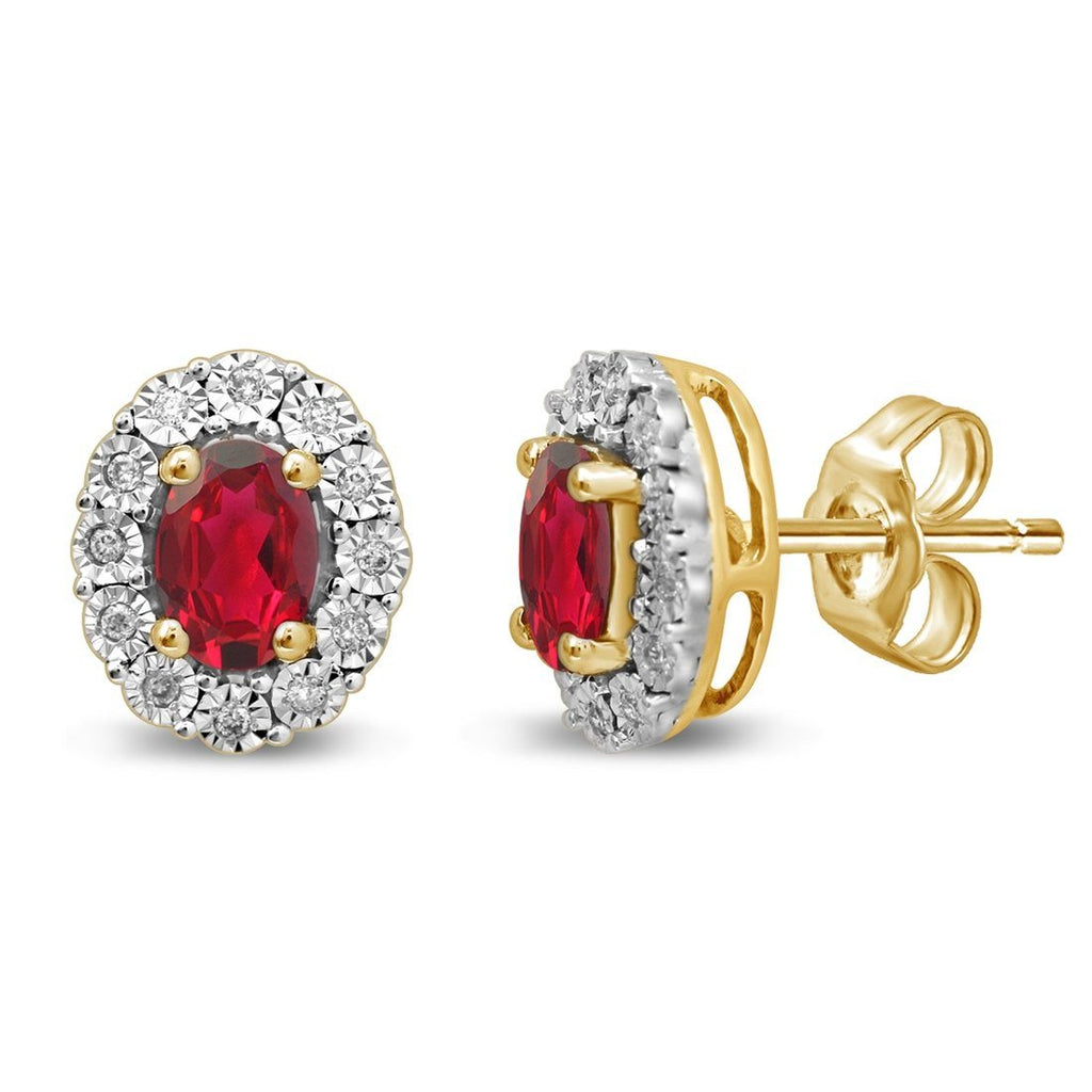 9ct Yellow Gold Created Ruby & Diamond Earrings Earrings Bevilles