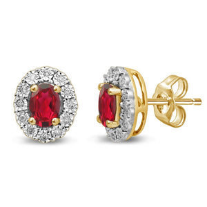 9ct Yellow Gold Created Ruby & Diamond Earrings