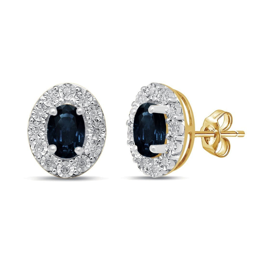 9ct Yellow Gold Diamond Set Sapphire Earrings Earrings Bevilles