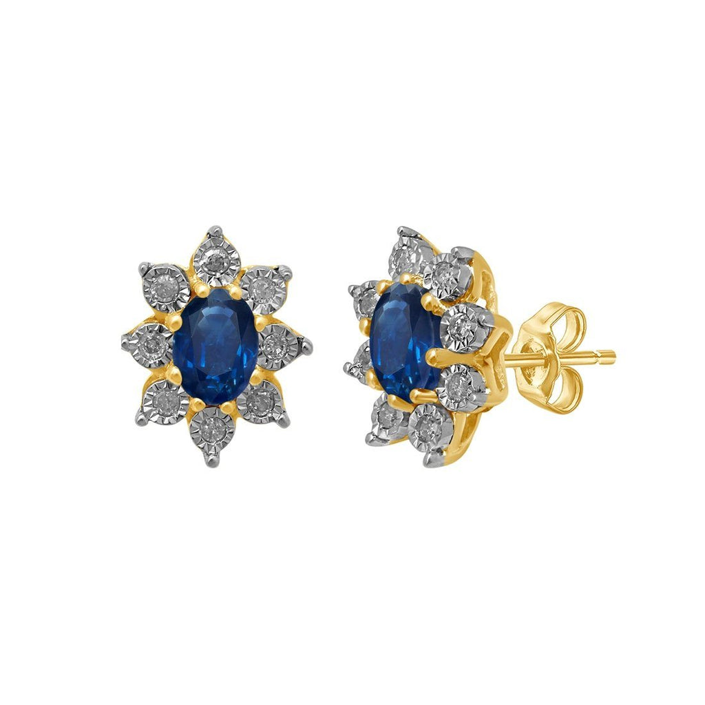 9ct Yellow Gold Sapphire and Diamond Earrings Earrings Bevilles