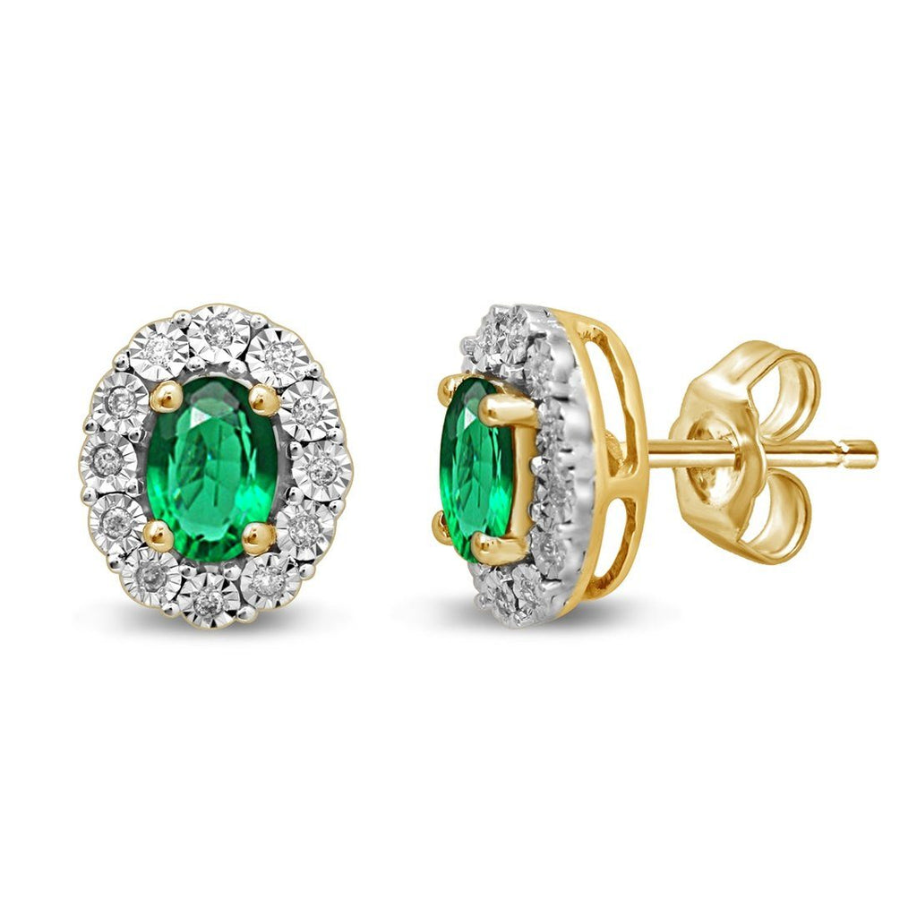 9ct Yellow Gold Created Emerald & Diamond Earrings Earrings Bevilles