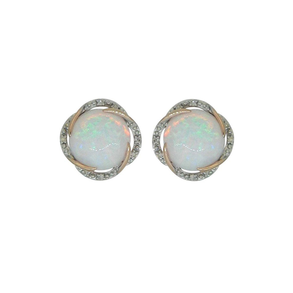 9ct Yellow Gold Diamond Set Created Opal Studs Earrings Bevilles