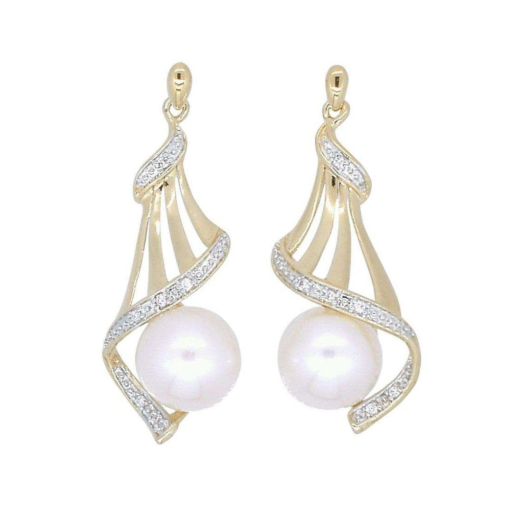 9ct Yellow Gold Round Fresh Water Pearl Diamond Set Drop Earrings Earrings Bevilles