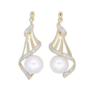 9ct Yellow Gold Round Fresh Water Pearl Diamond Set Drop Earrings