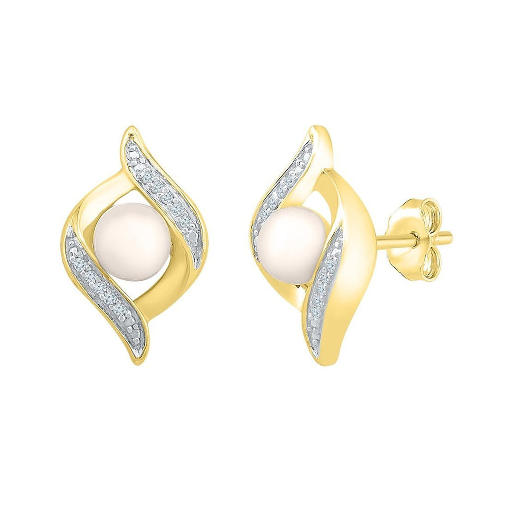 9ct Yellow Gold Diamond Set Flame Earrings with Pearls Earrings Bevilles