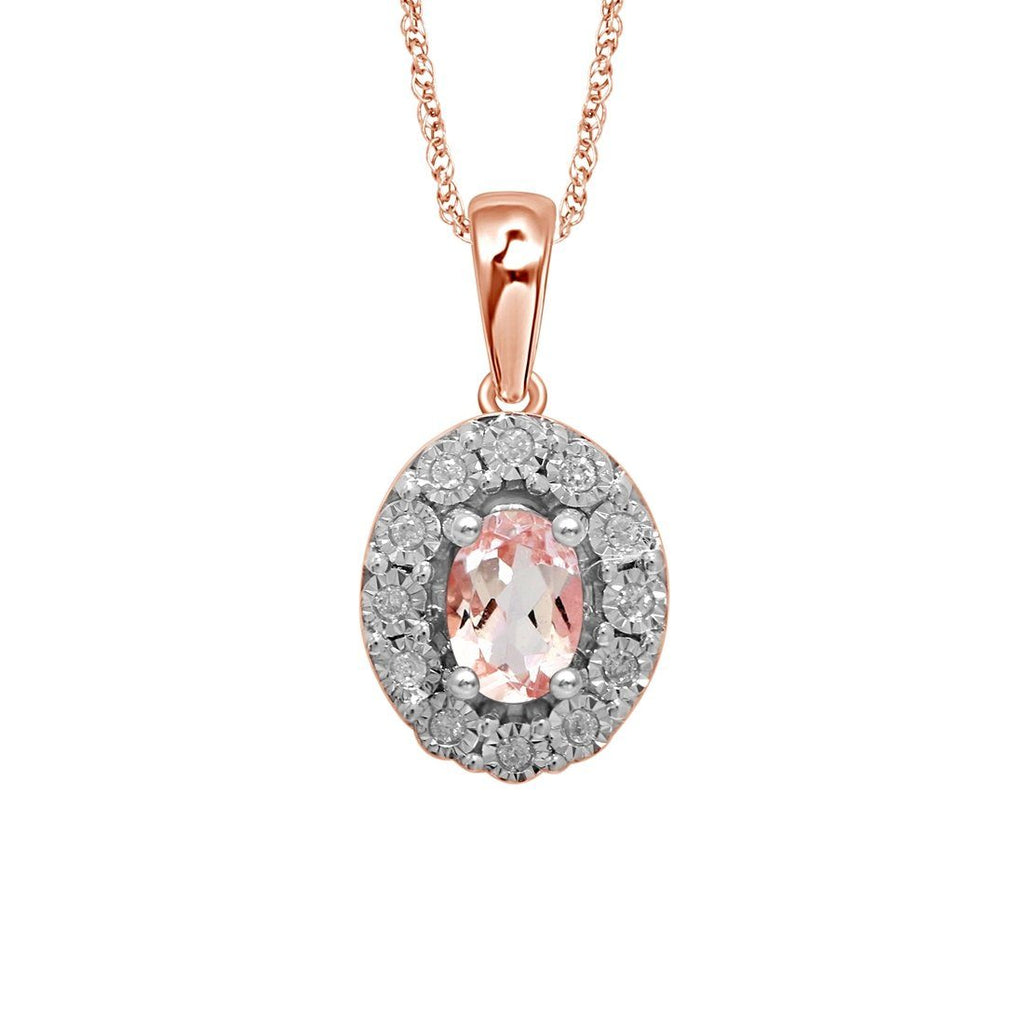 9ct Rose Gold Diamond Set Oval Morganite Necklace Necklaces Bevilles