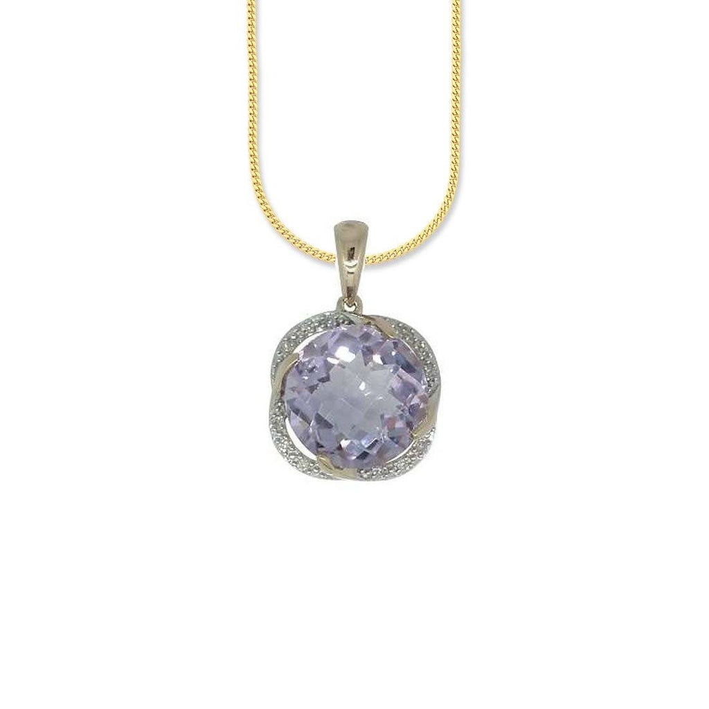9ct Yellow Gold Diamond & Amethyst Pendant Necklaces Bevilles