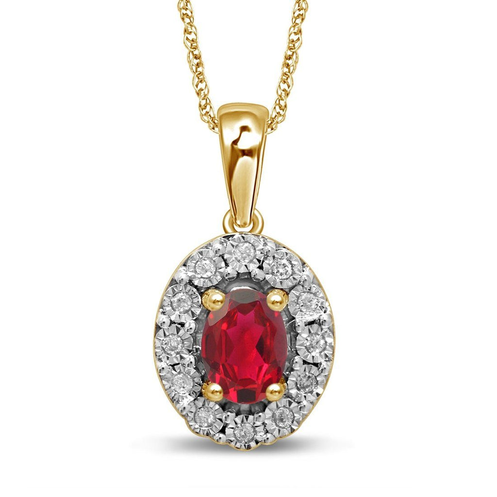 9ct Yellow Gold Created Ruby & Diamond Necklace