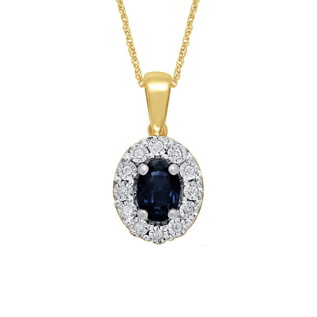 9ct Yellow Gold Diamond Set Sapphire Necklace Necklaces Bevilles
