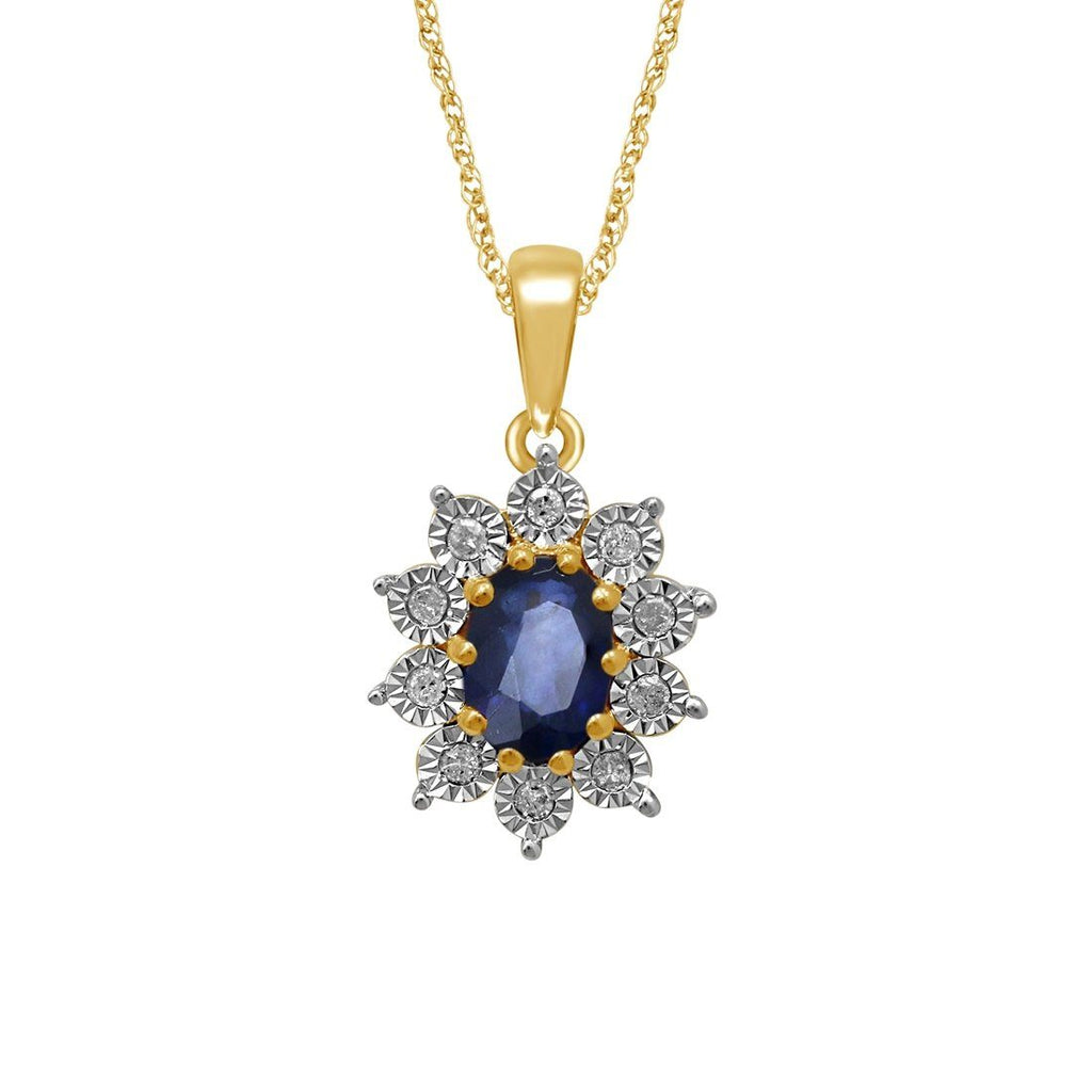 9ct Yellow Gold Sapphire and Diamond Necklace Necklaces Bevilles