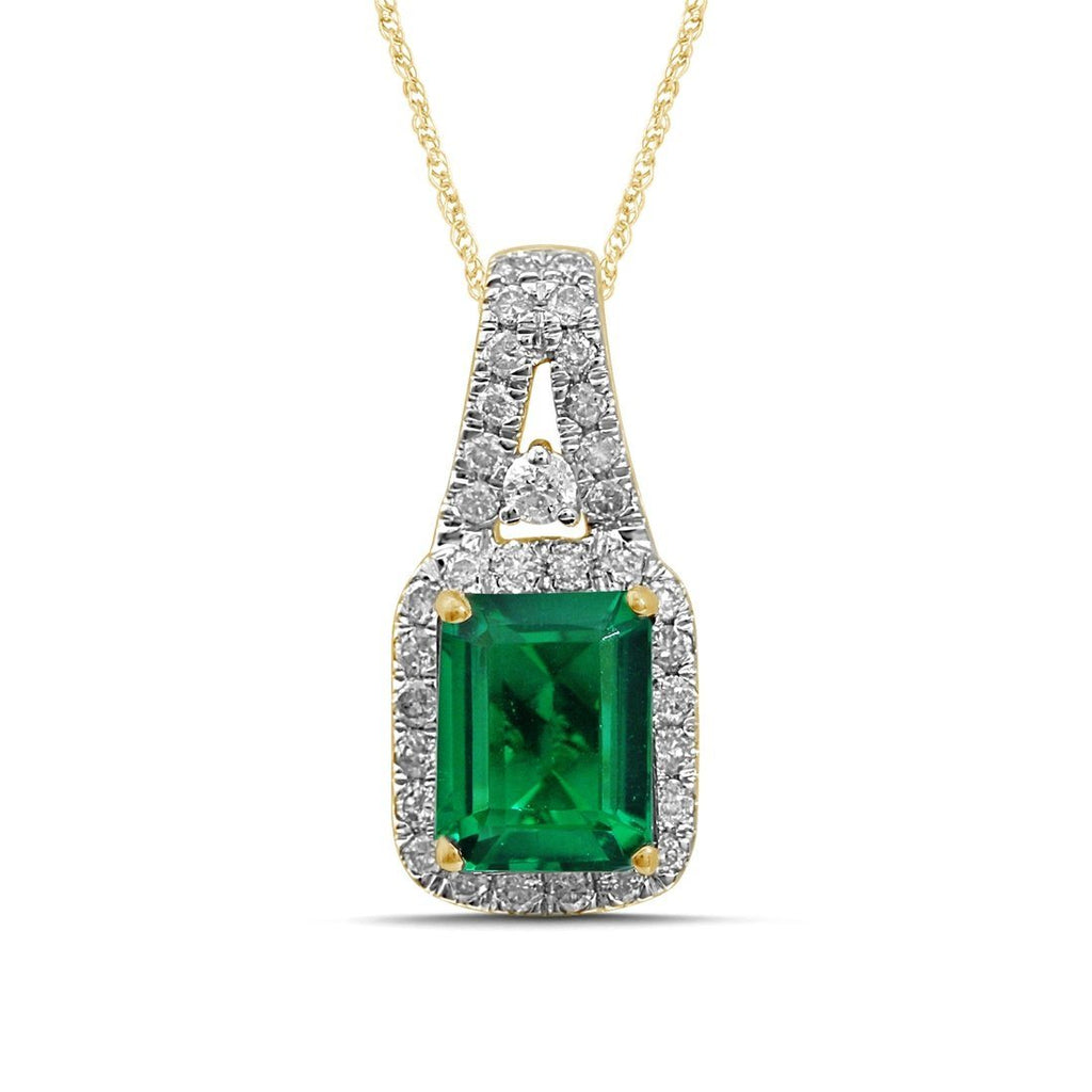 9ct Yellow Gold 0.33ct Diamond & Created Emerald Pendant Necklaces Bevilles