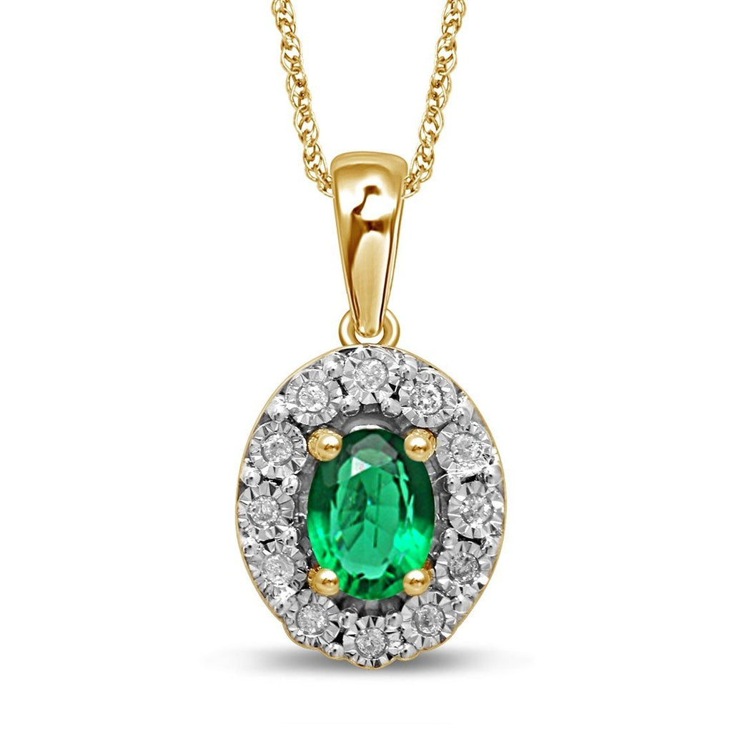 9ct Yellow Gold Created Emerald & Diamond Necklace Necklaces Bevilles