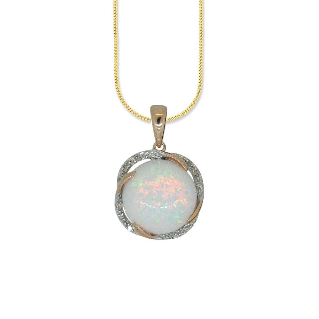 9ct Yellow Gold Diamond Set Created Opal Pendant