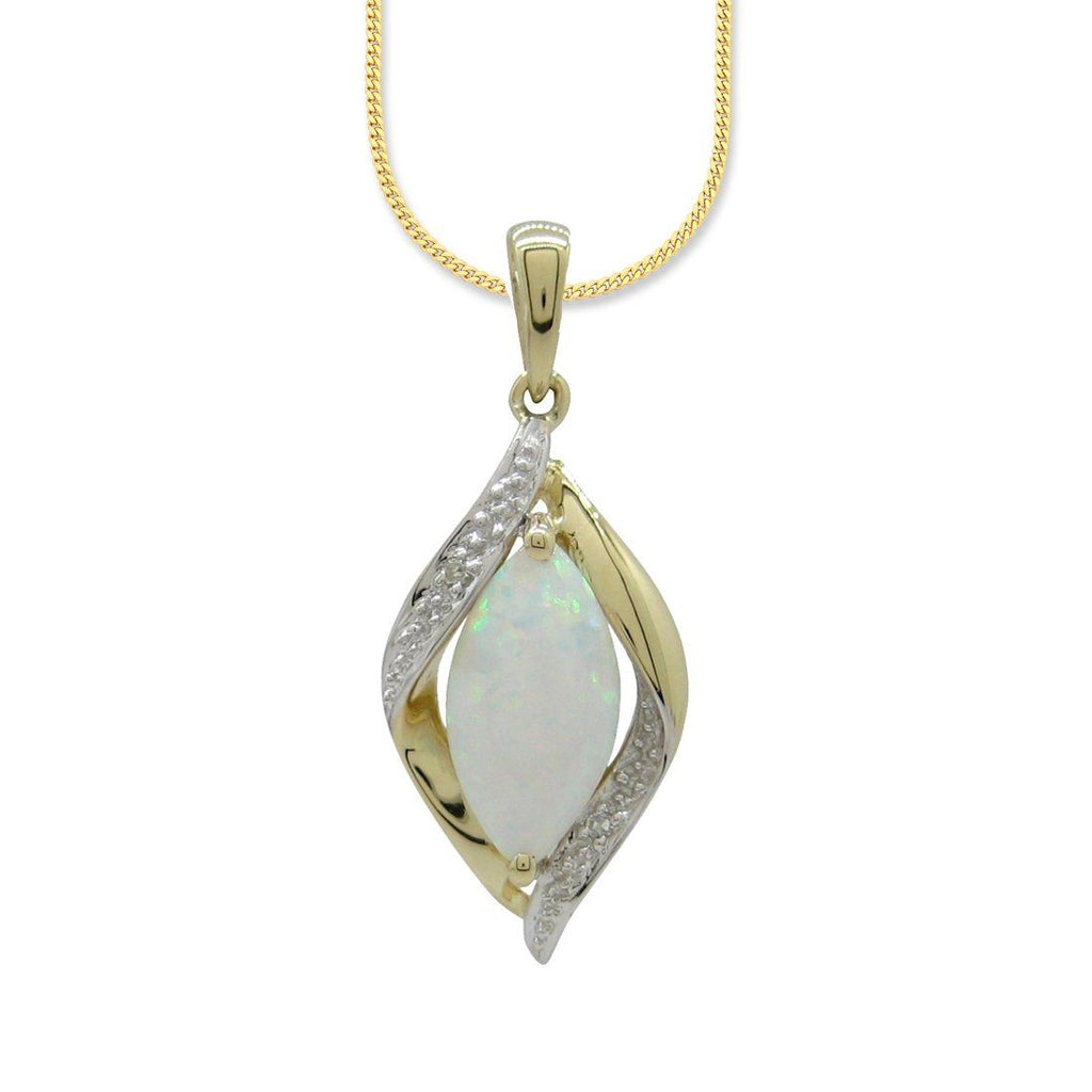 9ct Yellow Gold Created Opal and Diamond Pendant Necklaces Bevilles
